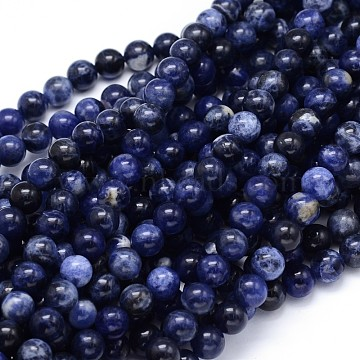 Round Natural Sodalite Beads Strands, 6mm, Hole: 1mm, about 65pcs/strand, 15.3 inches(X-G-F222-39-6mm)