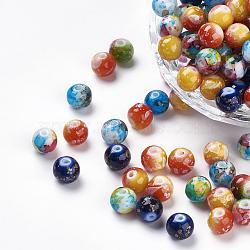 Perles en résine, rond, teint, couleur mixte, 8mm, Trou: 1mm(RESI-K005-02)
