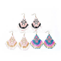 perles de rocaille japonaises faites à la main pendantes, boucles d'oreilles pompon, avec crochets d'oreilles en laiton, couleur mélangée, 85 mm(EJEW-JE03348-M)