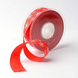"""Flocon ruban polyester grosgrain pour noël, rouge, 1"""" (25 mm); environ 100yards / rouleau (91.44m / rouleau)(SRIB-K002-25mm-D01)"""