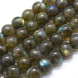 Natural Labradorite Beads Strands, Round, 8mm in diameter, hole: 1mm, about 50pcs/strand, 15.7inches(40cm)(G-I253-01)