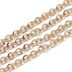 Chaînes de câbles en aluminium non soudées, or rose, 4.5x1x0.7 mm; environ 100 m / sac(CHA-S001-013)
