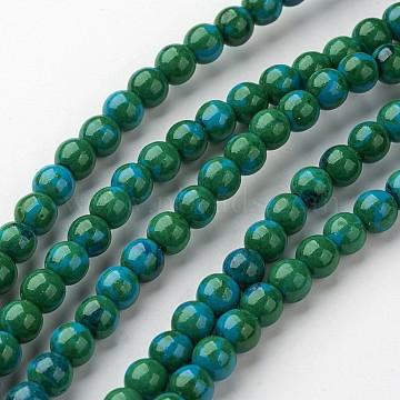 6mm Teal Round White Jade Beads