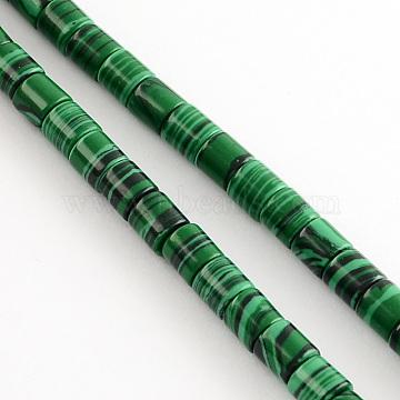 Synthetic Malachite Bead Strands, Column, Green, 6x6mm, Hole: 1mm, about 66pcs/strand, 15.7 inches(X-G-R187-10)