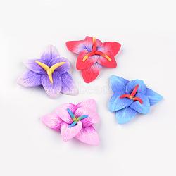 Cabochons en pâte polymère manuels, fleur, couleur mixte, 61~70x62~70x15~16mm(X-CLAY-Q230-51)