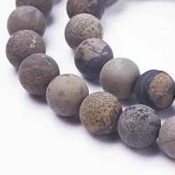 """Chapelets de perles en pierre gemme naturelle, mat, rond, 8mm, trou: 1mm; environ 48 pcs/chapelet, 15.3"""" (39 cm)(G-F520-47-8mm)"""
