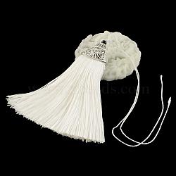 décorations de pendentif pompon en polyester avec des trouvailles de plastique ccb argent antique, blanc crème, 80x20x11 mm(AJEW-R054-16)