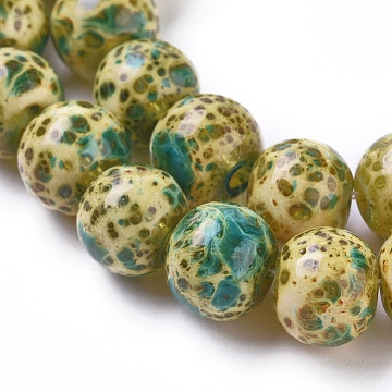 brins de perles au chalumeau à la main de style rétro, arrondir, darkcyan, 8.5~9x7.5 mm, trou: 1.2 mm, environ 50 pcs / brin, 14.96 (38 cm)(LAMP-D179-01C-8MM)