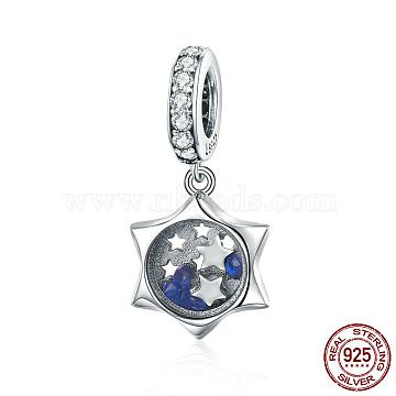 23mm RoyalBlue Star Sterling Silver Dangle Beads