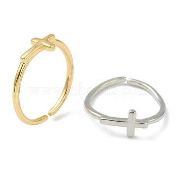 Brass Cuff Rings, Open Rings, Long-Lasting Plated, Cross, Mixed Color, US Size 6(16.5mm)(RJEW-L100-005)