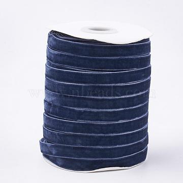 Single Face Velvet Ribbon, Marine Blue, 3/8 inch(9.5~10mm); about 50yards/roll(45.72m/roll)(SRIB-T004-01-06)