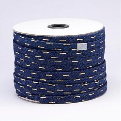 cordon en coton denim, midnightblue, 10x1 mm; sur 50 mètres / rouleau(NWIR-N012-03)