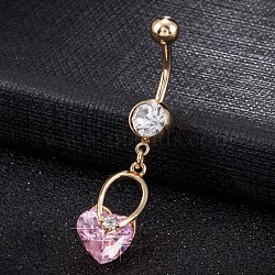 Piercing Jewelry, Brass Cubic Zirconia Navel Ring, Belly Rings, with Use Stainless Steel Findings, Cadmium Free & Lead Free, Real 18K Gold Plated, Heart, Pink, 47x10mm(AJEW-EE0003-28A)