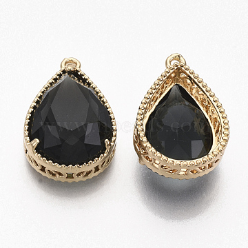 Faceted Glass Pendants, with Golden Tone Brass Open Back Settings, Teardrop, Black, 23x15.5x6.5mm, Hole: 1.5mm(X-GLAA-T010-016A)