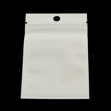 Pearl Film Plastic Zip Lock Bags, Resealable Packaging Bags, with Hang Hole, Top Seal, Self Seal Bag, Rectangle, White, 25x16cm; inner measure: 21x14.5cm(OPP-R002-08)