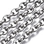 304 Stainless Steel Cable Chains, with Spool, Unwelded, Oval, Stainless Steel Color, 7.5x6x2.5mm, about 32.8 Feet(10m)/roll.