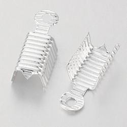 латунь складной обжима концов, серебро, 13x5 mm, отверстия: 1 mm(X-KK-P031-07S)