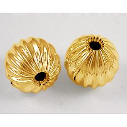 Perles ondulées en laiton, rond, dorée, environ 10 mm de diamètre, Trou: 2mm(X-EC032-G)