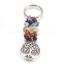 Natural Gemstone Keychain, with Brass Findings, Flat Round with Tree, 88mm; Pendant: 28.5x25x2mm(X-KEYC-JKC00163-02)