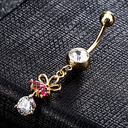 Environmental Brass Cubic Zirconia Navel Ring, Belly Rings, with Use Stainless Steel Findings, Real 18K Gold Plated, Flower, Red, 46x9mm(AJEW-EE0004-03C)