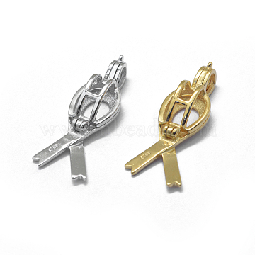 925 Sterling Silver Cage Pendants, Ribbon, Mixed Color, 31.5x9.8x7mm, Hole: 4.5x3mm, Inner Diameter: 7x8.5mm(STER-L055-042-M)