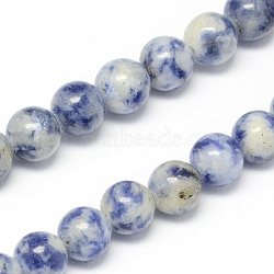 Natural Blue Spot Jasper Bead Strands, Round, 6mm, Hole: 1mm; about 68pcs/strand, 15.7inches(G-R193-15-6mm)
