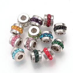 Perles de strass en 304 acier inoxydable, colonne, couleur inoxydable, 7x5mm, Trou: 3mm(RB-R052-M)
