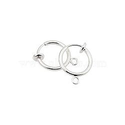 conclusions de boucle d'oreille en laiton environnementale clip-on, pour oreilles non percées, plaqué argent, 15.5x11x1.5~4.5 mm, trou: 1.5 mm(X-KK-P102-01S)