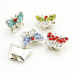 Perles de strass en alliage, sans plomb, Grade a, de couleur métal argent, papillon, couleur mixte, 14x10x5.5mm, Trou: 2mm(X-RB-D018-S-M-LF)
