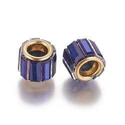 laiton zircone cubique perles européennes, grandes perles de trou, colonne, or, bleu royal, 10x8 mm, trou: 5 mm(KK-E772-01L)
