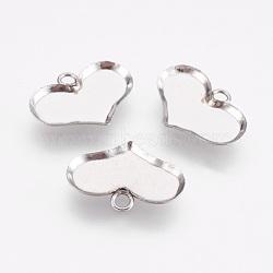 Supports de cabochon en 304 acier inoxydable, cuvettes à bord droit, cœur, couleur inoxydable, plateau: 10x14 mm; 11x15x1 mm, Trou: 1.6mm(STAS-I097-055-12P)