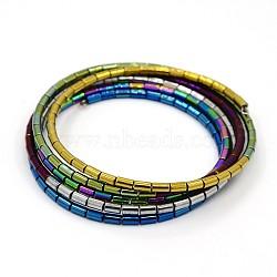 Unisexe cinq boucles hématite synthétique magnétique bracelets d'emballage perles, avec des agrafes de fer, colorées, 59mm(BJEW-O016-02)