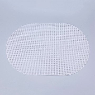 Plastic Mesh Canvas Sheets, for Embroidery, Acrylic Yarn Crafting, Knit and Crochet Projects, Oval, White, 46x30.8x0.15cm, Hole: 4x4mm(DIY-M007-05)