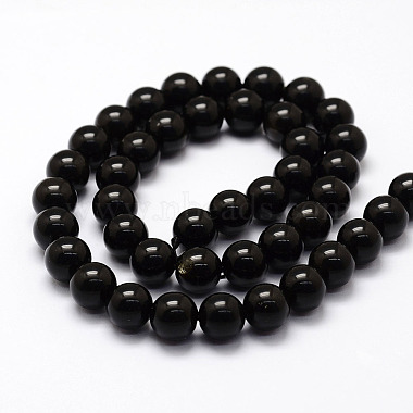 Natural Obsidian Beads Strands(X-G-F364-08-10mm)-2