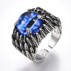Bagues en alliage de verre, anneaux large bande, oeil de dragon, argent antique, bleu, taille 10, 20mm(RJEW-T006-05A)