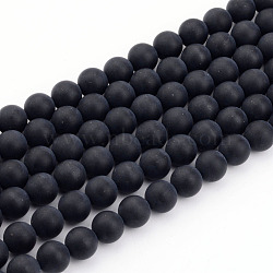Natural Black Agate Bead Strands, Frosted, Round, 12mm, Hole: 1mm; about 33pcs/strand, 15.7inches