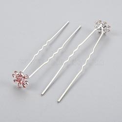 (vente de clôture défectueuse), accessoires de cheveux de dame, fourches à cheveux en fer argenté, avec strass, fleur, rose clair, 68~69 mm(PHAR-XCP0003-A01)