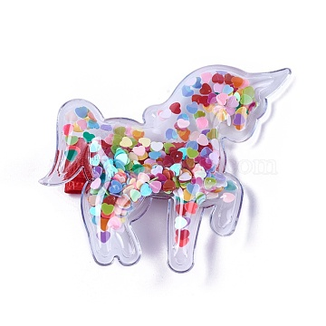Plastic Alligator Hair Clips, with Heart Paillette & Platinum Plated Iron Base, Unicorn, Colorful, 53x63x12mm(PHAR-L005-E04)