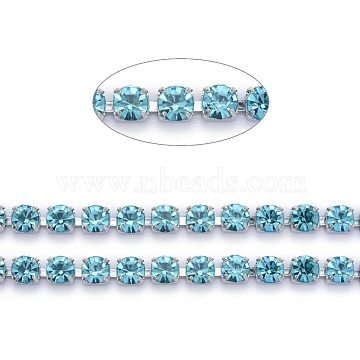 304 Stainless Steel Rhinestone Strass Chains, with Spool, Rhinestone Cup Chains, Stainless Steel Color, Aquamarine, 3x3x2.7mm, about 32.8 Feet(10m)/roll(STAS-T055-05P-A)