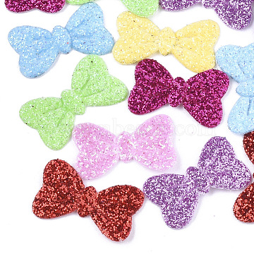 Non Woven Fabric Costume Accessories, with Glitter Powder, Bowknot, Mixed Color, 11.5x18x1mm(X-FIND-T038-04)