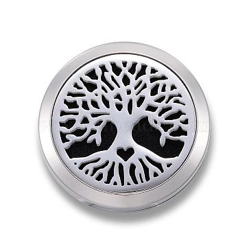 316 Surgical Stainless Steel Car Diffuser Locket Clips, with Perfume Pad and Magnetic Clasps, Flat Round with Tree of Life, Black, 30x7mm(STAS-H336-31H)