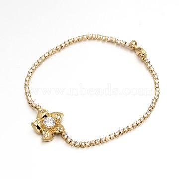 Golden Plated Brass Cubic Zirconia Cup Chain Bracelets, Flower, Clear, 200x2mm(BJEW-H0001-03G)