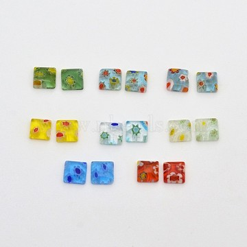 8mm Mixed Color Square Lampwork Cabochons