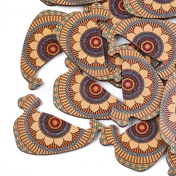 Printed Basswood Cabochons, Colorful, 50x35x3mm(X-WOOD-S045-081A)