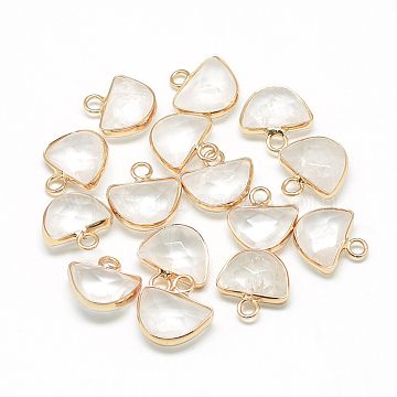 Natural Quartz Crystal Semi Circle Pendants, with Brass Findings, Faceted, Half Round, Golden, Clear, 13.5~14.5x13~14x5.5mm, Hole: 2mm(X-G-Q965-09)