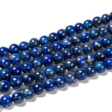 Natural Lapis Lazuli Bead Strands, Round, 8mm, Hole: 1mm; about 45~49pcs/strand, 15.5 inches(395mm)(X-G-G953-01-8mm)