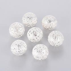 perles rondes en filigrane, fer, plaqué argent, 20 mm, trou: 2.5 mm(X-E144Y-S)