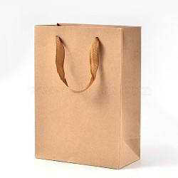Sacs en papier kraft rectangle avec poignée, sac à provisions au détail, sac de marchandises, cadeau, sac de fête, avec poignées en corde de nylon, burlywood, 20x15x6 cm(AJEW-L048B-02)