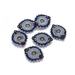 MIYUKI® & TOHO® connecteurs japonaises en perles rocailles manuells, motif de tissage, avec coquille, plat rond, colorées, 32~33x26~27x4mm, Trou: 2mm(SEED-A029-DA09)