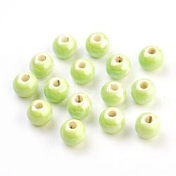 Perles en porcelaine manuelles, nacré, rond, greenyellow, 8mm, Trou: 2mm(X-PORC-D001-8mm-21)